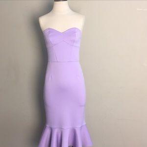 ASOS Purple Corset Strapless Peplum Midi Dress